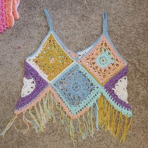 Crochet cotton festival crop top